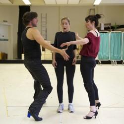 Gary Watson (Rudolpho), Lauren Ward (Miss Honey) and Josie Walker (Mrs Wormwood)
