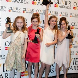 Best Actress in a Musical (L-R Sophia Kiely, Eleanor Worthington-Cox, Kerry Ingram, Cleo Demetriou) for Matilda The Musical (Photographer Helen Maybanks)