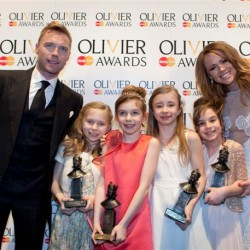 Best Actress in a Musical (L-R Sophia Kiely, Eleanor Worthington-Cox, Kerry Ingram, Cleo Demetriou) with award presenters Ronan Keating and Kimberley Walsh