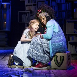 Lizzie Wells as Matilda and Sharlene Whyte as Mrs Phelps - Matilda The Musical