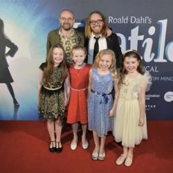 The four Matildas: Bella Thomas, Sasha Rose, Georgia Taplin and Molly Barwick, with Dennis Kelly (Book) and Tim Minchin (Music & Lyrics)