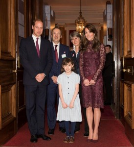 TRH The Duke and Duchess of Cambridge with Anna-Louise Knight as Matilda, and Julian Bird, Chief Executive of SOLT and Catherine Mallyon, Executive Director of the RSC
