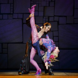 Anthony MacPherson as Rudolpho and Darcy Stewart as Mrs Wormwood. Photo Joan Marcus