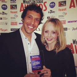 We won! Here's our Miss Trunchbull, #AlexGaumond with Miss Honey, #HaleyFlaherty with the Equity UK Best West End Show Award at the #WOSawards. Thank you all SO SO much for voting for us! #matildathemusical